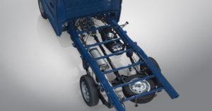 Khung sườn xe Tera 100 chế tạo bằng thép cường lực cao, sơn tĩnh điện với 8 dầm kiên cố.
